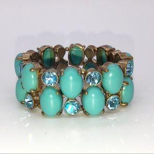 Turquoise stones & Crystal Stretch Bracelet